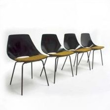 4 x Tonneau dining chair by Pierre Guariche for Steiner, 1950s