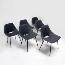6 x Tonneau dining chair by Pierre Guariche for Steiner, 1950s