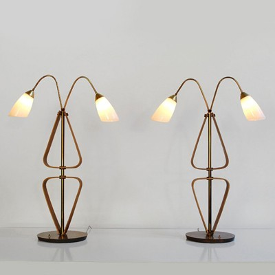2 Elegant large table lamps with brass & bent plywood frame, Sweden 1950s