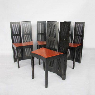 Set of 4 Lubekka dinner chairs by Andrea Branzi for Cassina, 1970s