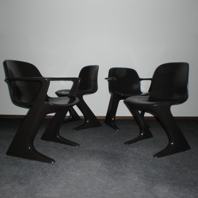 Set of 4 Kangaroo dining chairs by Ernst Moeckl for Horn Collection, 1960s