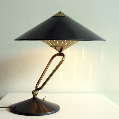 Adjustable lacquered metal desk lamp, 1950s