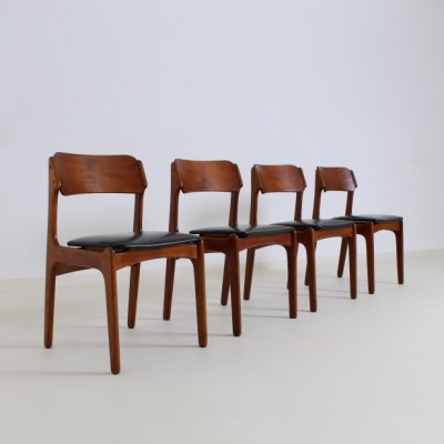 Set of 4 dining chairs by Erik Buck for O. D. Møbler, 1950s