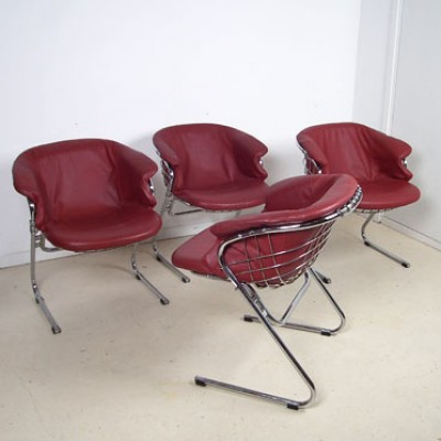 Set of 5 dining chairs by Gastone Rinaldi for Rima, 1970s