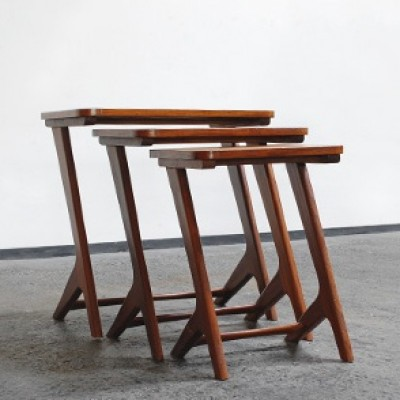Set of 3 nesting tables from the fifties by unknown designer for unknown producer