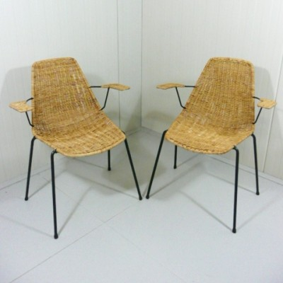 Pair of Basket Armchair dining chairs by Gian Franco Legler for Aarea, 1950s