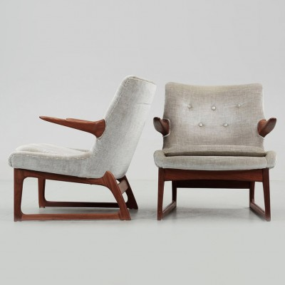 Pair of lounge chairs by Fredrik Kayser for Vatne Møbler, 1960s