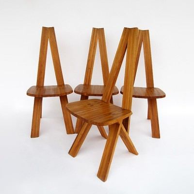 Set of 4 CHLACC dinner chairs by Pierre Chapo for Chapo, 1970s