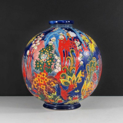 Boule Coloniale Vase by Maurice Paul Chevallier for Longwy