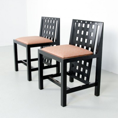 Set of 2 324 D.S. 3 dinner chairs from the twenties by CR Mackintosh for Cassina