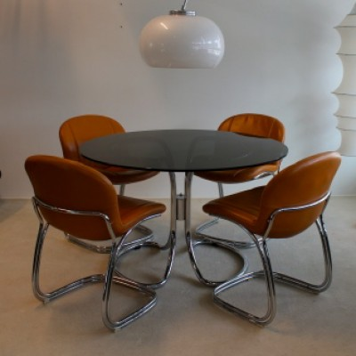 Set of 4 dining sets by Gastone Rinaldi for Rima, 1970s