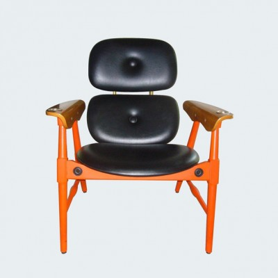 Poltronova orange chair with small brass ashtrays on the armrests, 1960s