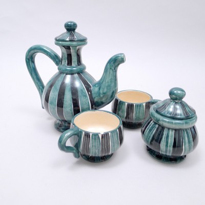 Striped Tea set by Jacques Laurent for Atelier FASE, 1950s