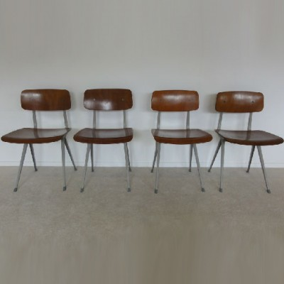 Set of 4 Result dining chairs by Friso Kramer for Ahrend de Cirkel, 1960s