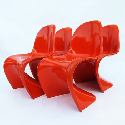 4 x Cantliver dinner chair by Verner Panton for Baydur, 1960s