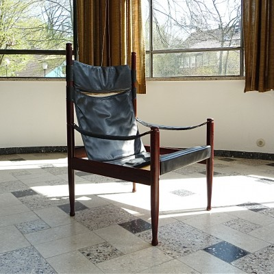 Danish Leather Safari Chair by Erik Wørts for N. Eilersen, 1960s