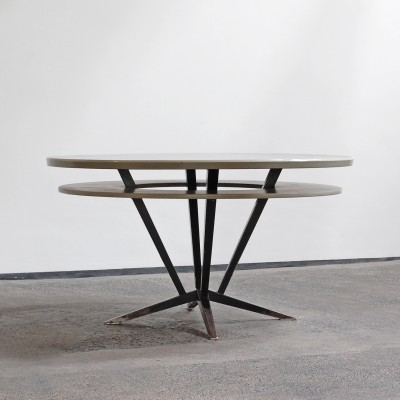 Industrial design Dining table with metal frame & linoleum top, 1960s