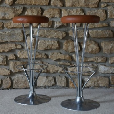 Pair of Barstools stools by Piet Hein for Fritz Hansen, 1950s
