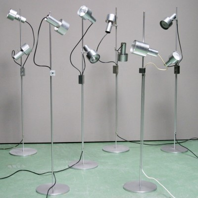 Set of 6 FA FB FA2 floor lamps by Peter Nelson for Architectural Lighting LTD, 1960s