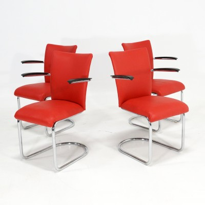 4 x De Wit dining chair, 1950s