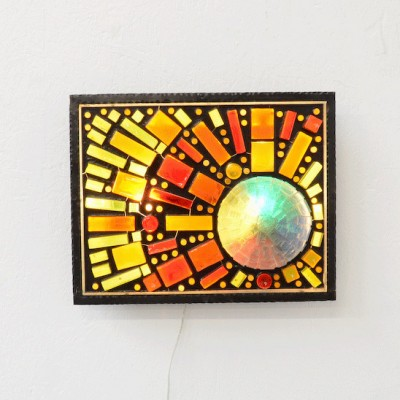 French glass light sculpture wall lamp, 1960s