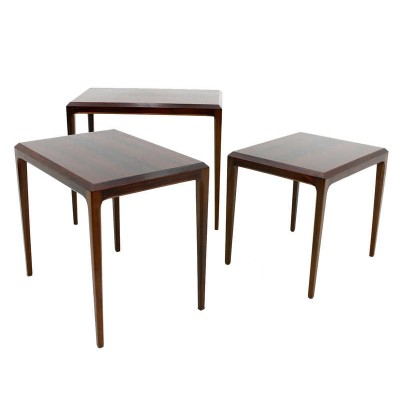 Set of Rosewood Nesting Tables by Johannes Andersen & made by Silkeborg, Denmark 1960s