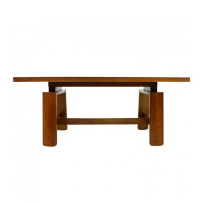 Mahogany Dining Table with Ceramic Bowl by Silvio Coppola for Bernini, Italy 1960