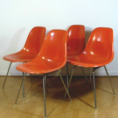 Set of 4 DSX dining chairs by Charles & Ray Eames for Herman Miller, 1960s