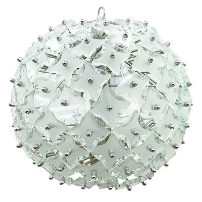 Glass & Metal 'Snowball' Chandelier, Italy 1960s