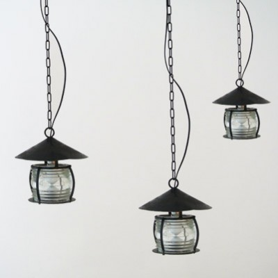 3 hanging lamps from the forties by unknown designer for unknown producer