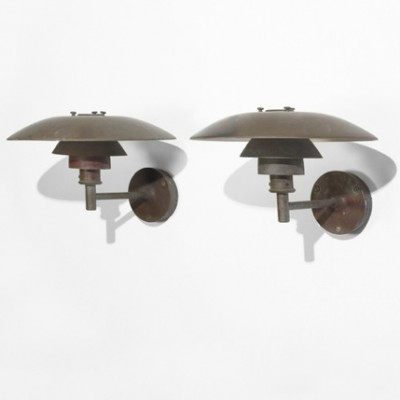 Set of 2 PH 4/3 Outdoor wall lamps from the twenties by Poul Henningsen for Louis Poulsen