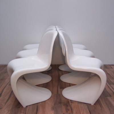 Set of 6 Panton dinner chairs from the seventies by Verner Panton for Fehlbaum