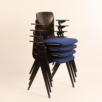 Set of 4 Schoolchair dining chairs by Flötotto, 1950s