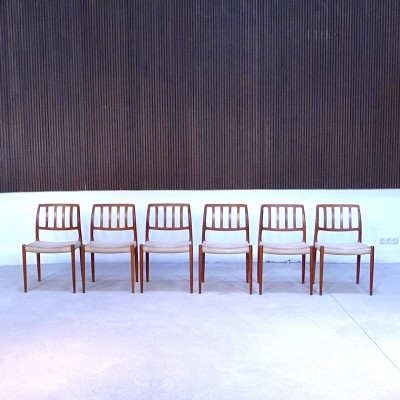 Set of 6 Model No. 83 - MOL 83 dinner chairs from the sixties by Niels Otto Møller for J L Møller