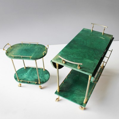 Set of 2 serving trolleys from the forties by Aldo Tura for Tura