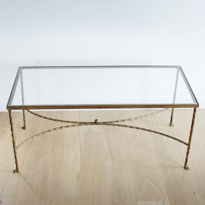 French Bagues Faux Bamboo Brass Cocktail Table