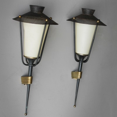 Pair of wall lamps by Mathieu Matégot for Maison Arlus, 1950s