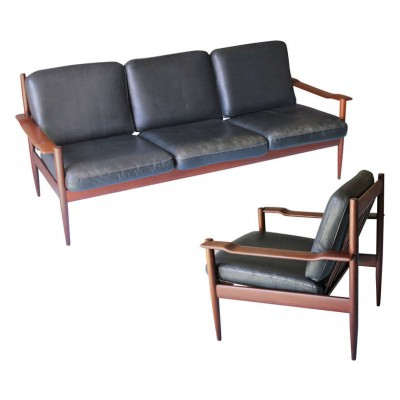 Pair of Grete Jalk seating groups, 1960s