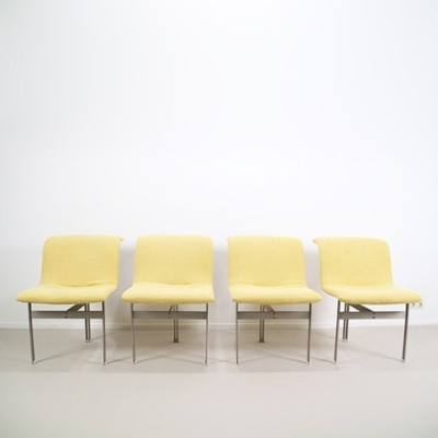 Set of 4 Wave dining chairs by Giovanni Offredi for Saporiti, 1970s