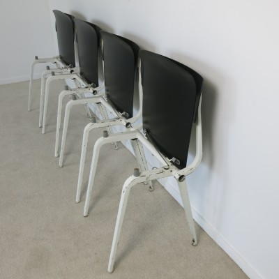 Set of 4 Revolt Folding dining chairs by Friso Kramer for Ahrend de Cirkel, 1950s
