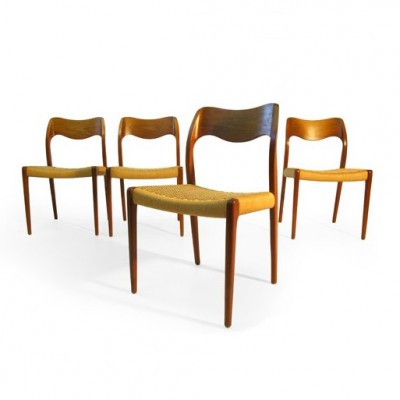 Set of 5 Model 71 dinner chairs from the fifties by Niels Otto Møller for J L Møller