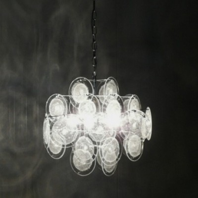 Glass Chandelier Hanging Lamp by Unknown Designer for Vistosi