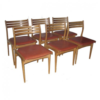 Set of 6 dining chairs by Poul Volther for Sorø Stolefabrik, 1950s