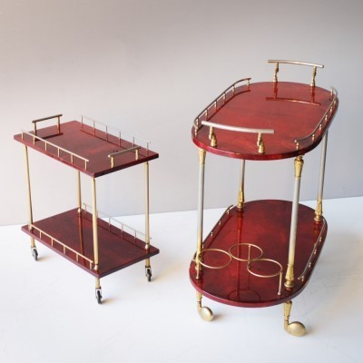 Pair of serving trolleys by Aldo Tura for Tura, 1950s