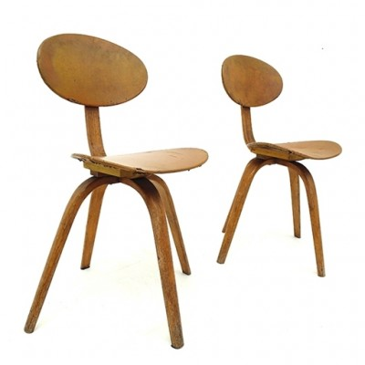 2 x Chair No. 3 stool by Hugues Steiner for Steiner, 1940s