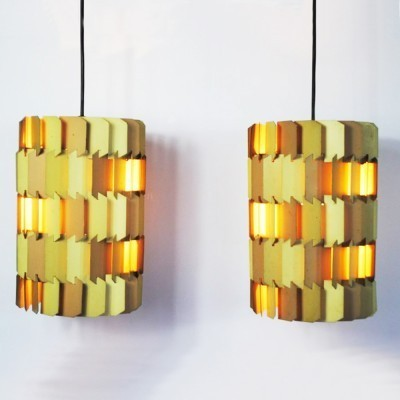 2 Facet-pop hanging lamps from the sixties by Louis Weisdorf for Lyfa