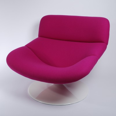 Artifort F518 Violet Lounge Swivel Chair by Geoffrey Harcourt