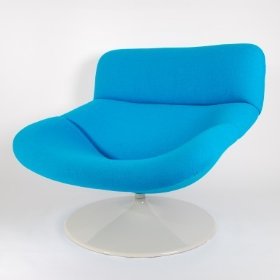 Artifort F518 Blue Lounge Swivel Chair by Geoffrey Harcourt