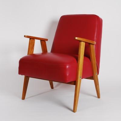Model 366 Chierowski lounge chair in red leather, 1950s