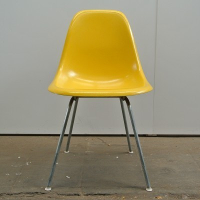 2 DSX Canary Yellow dinner chairs from the fifties by Charles & Ray Eames for Herman Miller